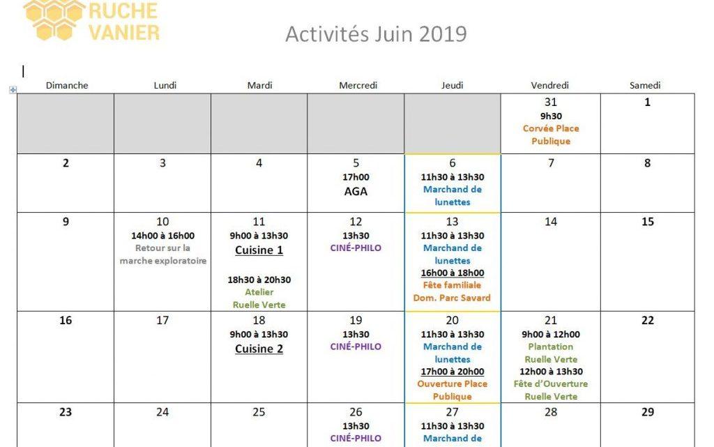 Activités de juin 2019